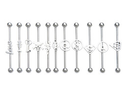 Wholesale 14g Earrings - Lot100pcs Surgical Steel Piercing Barbells 14G Logos Scaffold Industrial Straight Bar Upper Earring Helix Barbell Body Jewelry