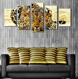 Wholesale Leopard Canvas Wall Art - 5 Plane Abstract Leopards Modern Home Decor Wall Art Canvas Animal Picture Print Painting Set of 5 Each Canvas Arts