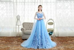 Wholesale Cheap Flower Robes - vestidos cheap elegant blue court train plus size evening dress with shoulder veil lace flowers long prom party dress formal robe de soiree