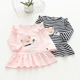Wholesale Kids Dresses Fashion Design - 2017 new design fashion kids clothing autumn children stripes beauty skirt girls cartoon candy dresses embroidered sleeve dress