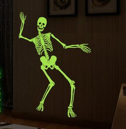 Wholesale Tricky Bars - The new style creative luminous Skeleton Halloween Decoration Wall Sticker Tricky Corner bar for Crazy party free shipping