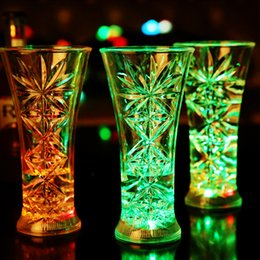 Wholesale Crystal Coupe - New Led Cup Glass Flashing Shot Glass Led Plastic Luminous Neon Cup Birthday Party Night Bar Wedding Beverage Wine flash cup OTH406