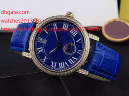 Wholesale Leather Hand Bands For Women - Luxury High Quality watch for women Automatic movement Stainless steel case Size 38mm diamond Diamond Blue Leather Strap Bands Watch