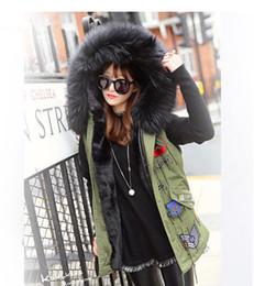 giacche per le signore Sconti Nuovo 2016 donne inverno Parka più grande collo di pelliccia giacca donne giacca di spessore faux fur signore cappotti donne cappotti di base verde dell'esercito # F001