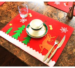 Wholesale Woven Table Mats - Nonwovens Christmas Placemat Ornaments 45*34cm Table Mat Christmas Decorations Home Hotel Cafe Decoration Tableware Mat Xmas