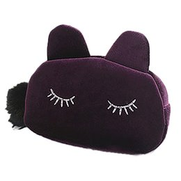 Wholesale Velvet Cosmetic Bags - Wholesale- 2016 New Cosmetic Bag Fashion Cute Offers Velvet Makeup Bags Cluth Purses Women Cartoon Cat Design Travel Make Up Storage Bag