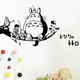 Wholesale Decoration Lounge - New DIY wall art Totoro wall stickers for kids rooms decoration wall decals lounge wedding decoration *