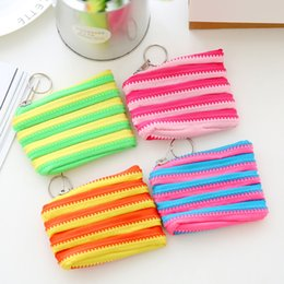 Wholesale Stripes Plastic Bag - Lady Purse Portable Coin Storage Bag Stripe Wallet New For Multi Color Hot Sale 0 99lc C R