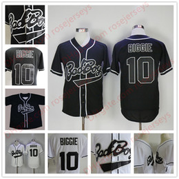 Wholesale Bad Boys - Mens B.I.G. #10 Biggie Smalls Black Jersey The Notorious Movie Bad Boy White Stitched Baseball Film Buttons cheap Jerseys Size S-3XL