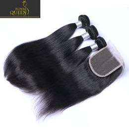 Wholesale Mixed Bundles Hair - Top Lace Closure With 3 Bundles Brazilian Human Hair Weaves Malaysian Indian Peruvian Straight Virgin Hair Grade 8A Brazillian Hair Closures