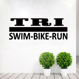 Wholesale Green Wall Deco - 2017 Hot Sale Personality Tri Decal Sticker Triathlon Special Lettering Vinyl Wall Sticker Decal Art Deco Mural Bedroom Living Room Diy