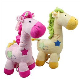 Wholesale Cloth Material Wholesale - Giraffe Appease Doll Multi Function Plush Baby Toy With Music Raise The Bell Fabric Super Soft Eco Friendly Material High Quality 13bg I1
