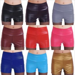 Wholesale High Fashion Clubwear - Leggings Summer High Waist Shorts Women PU Leather Elastic Tights Slim Safety Pants Fashion Sexy Breeches Clubwear Women's Clothing B2625