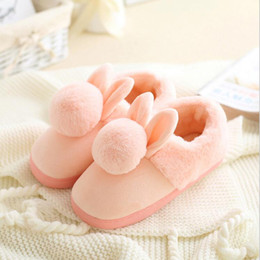Wholesale Pregnant Novelty - Women shoes Pink Slippers Women and men Cotton Slippers In Winter House Lovely Rabbit Indoor Slippers Pregnant Woman G968