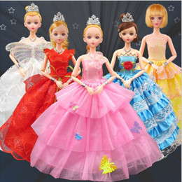 Wholesale Shoes For Dolls - Dresses Wedding Party Princess Gown with Crown Necklace Shoes Handbag Dollhouse Accessories For Barbie Doll Kids Toys Gift