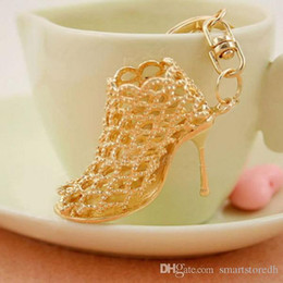 Wholesale Wholesale Heel Rings - Crystal Shoe High Heel Keyring Pendant Key Bag Chain Ring Keychain Gift C00037 FASH