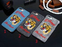 Wholesale Luxury Covers For Phones - Luxury brand Embroidered Tiger Hard Case For apple iphone 6 6s 7 plus phone shell for iphone 7 7plus back cover