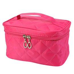 Wholesale Toiletries Bag For Travel - Wholesale- Cosmetic Bag For Women 3D Laser Diamond Pattern Portable Make Up Bag Case Hanging Toiletries Travel Jewelry Organizer Fashion