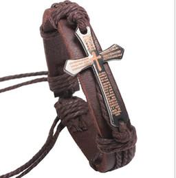 Pulsera ajustable hombre cuero negro online-Cross Bible Charm Pulsera de cuero trenzada para hombres Mujeres Wrap Jewelry Hecho a mano Negro Vintage Leather Ajustable Wristband Retro Jewelry