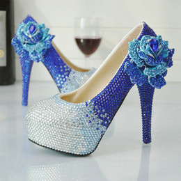 Wholesale Gorgeous Silver Shoes - 2017 New Designer Handmade Rhinestone Wedding Shoes Blue with Silver Crystal Bridal Shoes Platform Gorgeous Prom Party Pumps
