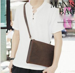 Wholesale Used Vintage - Multi-use Men Shoulder bags Vintage Leather Cluth Bags First layer crazy horse leather top quality absolutly good prices