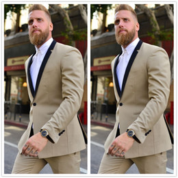 Wholesale Men S Two Button Suit - Wholesale- 2016 Champagne Gentleman One Button Groom Tuxedos Blazer Wedding Prom Men Suits Slim Fit Groomsman Wear Custom Made Two Pieces
