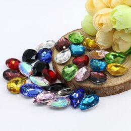 Wholesale Cut Stones - 4x6mm water drop glass beads Shape 100pcs bag Glass K5 Point Back Fancy Stone Silver Foiled Gemstone (10 Different Color Available)