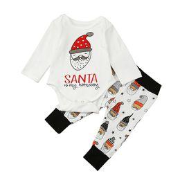 Wholesale 24 month christmas outfit - Baby Christmas outfits Kids Santa Claus romper+pants 2pcs sets children Xmas Clothing Sets C2779