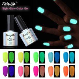 Wholesale Fluorescent Yellow Color - Wholesale-FairyGlo 10ml UV Gel Nail Polish Candy Color Gelpolish 1pcs Fluorescent Luminous Night Glow Nail Gel Soak Off Gel Lak