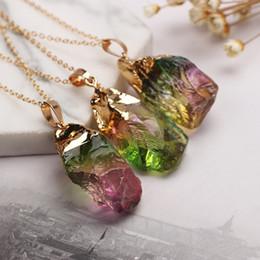 elegante collar de piedra Rebajas Venta al por mayor 12 piezas largo gema piedra naturaleza piedra cuarzo encantos Druzy colgante collar elegante oro lated joyería para mujeres regalo de Navidad