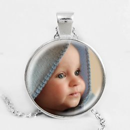 Wholesale Family Christmas Party - Personalized Photo Pendants Custom Necklace Photo of Your Baby Child Mom Dad Grandparent Loved One Gift for Family Member Gift