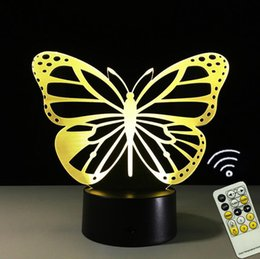 Wholesale Table Lamps Usb - USB Novelty Gifts 7 Colors Changing Nice Butterfly Led Night Lights 3D Touch LED Desk Table Lamp Home Decoration