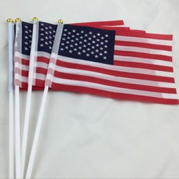 Wholesale Wholesale United States America - USA America flag Banner 14x21cm Flag 100% Polyester Flags With Plastic Flagpoles For the United States Celebration Decoration