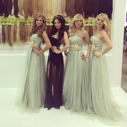 Wholesale Strapless Pink Wedding Evening Dress - Hot 2017 Sage Green Simple Bridesmaid Dresses A Line Elegant Strapless Backless Tulle Long Maid of Honor Wedding Guest Evening Dresses Cheap