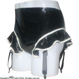 Wholesale Sexy Latex Garters - Sexy Latex Panties With Garters Fetish Rubber Shorts Underpants Underwear Bondage Pants Plus Size Female Hotsale