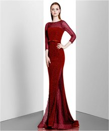 Wholesale Cheap Sequin Dresses China - Burgundy Evening Dresses Long 2017 Cheap Elegant Formal Dresses Made In China Graceful Celebrity Dresses Evening Free Shipping