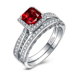 Wholesale Simulated Ruby Rings - Authentic 925 Sterling Silver Ring Gemstone Ring with Simulated Diamond Couple Ring Set Ruby Red For Woman Wedding Jewelry Free Gift Box