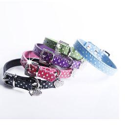 Wholesale Jeweled Leather Dog Collars - Polka Dot PU Leather Dog Collars Cute Puppy Collars With Heart Diamante 5 Colors 4 Sizes WA1819