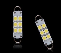 2019 automotive led glühbirnen Auto führte 44mm 5050 6SMD LED-Birnen-Tür-Karten-Panel-Lichter Doppelbogen-Ring-Automobilgirlanden-Auto-Haubenlicht 12V weiß günstig automotive led glühbirnen