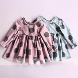 Wholesale Candy Dots Dress - Everweekend Girls Spring Fall Dots Ruffles Cotton Dress Candy Color Cute Children Western Fashion Holiday Dress