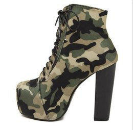 Wholesale Sexy Cloths Night - Sexy Super High Platform Women 14cm Bottom High Heels Shoes Camouflage Fabric Upper Shallow Thin Heel Women Party Night Club Gladiator