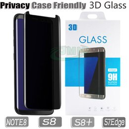Wholesale Privacy Screen Protector Galaxy - NOTE 8 S8 S7Edge Privacy anti-spay 3D Tempered Glass Screen Protector Case Friendly Glass Phone Protector For Samsung Galaxy S8 PLUS Note 8