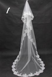 Wholesale lace wedding veils for sale - Promotional Hot Sale Cheap Applique Lace Bridal Veils Wedding Veil Long for Bride Dresses Wedding Accessories