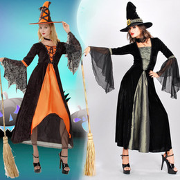 Wholesale Sexy Witch Costumes For Women - 2017 Halloween Witch Prom Dress For Women Free Size Cosplay Costumes Two Diferent Color Party Gowns Free Shippment