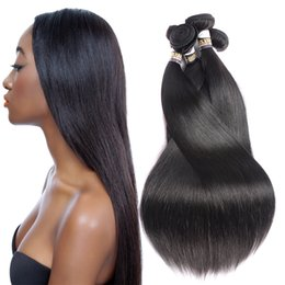 Wholesale Silky Straight Weave Chinese Hair - Brazilian Virgin Hair 3 Or 4 Bundles 10A Unprocessed Peruvian Indian Malaysian Mongolian Silky Straight Human Hair Extensions Natural Black