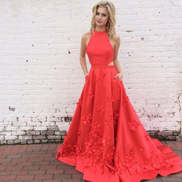 Wholesale Bateau Neck Feathered Prom Dress - 2017 Charming Watermelon Floral Prom Dresses High Neck Cutaway Sides Satin Backless Red Long Homecoming Dresses Party Dresses