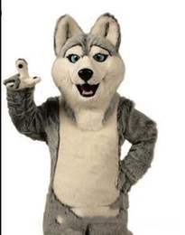 Wholesale Husky Wolf Cartoon - 2017 Fancy Gray Dog Husky Dog With The Appearance Of Wolf Mascot Costume Mascotte Adult Cartoon Character Party Free Shipping