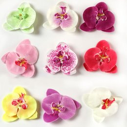 Wholesale Baby Orchids - Wholesale- Charming Hair Accessories Moth Orchid Flower Silk Decoration Baby Girls Flower With Clip Headband 9 Colors BB-073