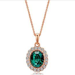 Wholesale Luxury Necklaces Gemstone Pendant - Fashion Gemstone Pendant Necklace Austrian Crystal Gold-plating Necklace Luxury Women's Jewelry 5 Colors Wholesale