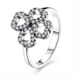 882a047ad43 Luxo Cluster com CZ Diamante 925 Sterling Silver Anéis de Dedo de Quatro  Folhas Trevo Anel de Jóias Para Meninas Mulheres